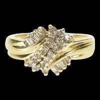 14K Wavy Diamond Encrusted Cluster Statement Ring Size 4.75 Yellow Gold [QRXP]