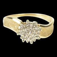 10K Round Diamond Cluster Textured Bypass Ring Size 7 Yellow Gold [QRXP]