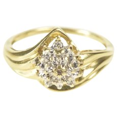 10K Pear Diamond Accent Textured Cluster Statement Ring Size 7 Yellow Gold [QRQC]