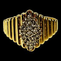 14K Marquise Diamond Cluster Grooved Statement Ring Size 9.25 Yellow Gold [QRXP]