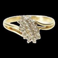 10K Diagonal Diamond Cluster Bypass Statement Ring Size 6 Yellow Gold [QRXP]