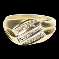10K Diamond Inset Three Tiered Cluster Statement Ring Size 10 Yellow Gold [QRXP]