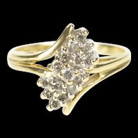 10K Bypass Diamond Freeform Cluster Statement Ring Size 5.5 Yellow Gold [QRXP]