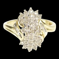 10K Diamond Cluster Encrusted Fancy Statement Ring Size 6.75 Yellow Gold [QRXP]