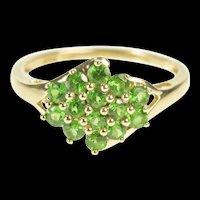 14K Syn. Demantoid Garnet Green Cluster Statement Ring Size 7 Yellow Gold [QRXP]