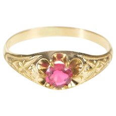 14K Victorian Syn. Ruby Solitaire Etched Detail Ring Size 8 Yellow Gold [QRQC]