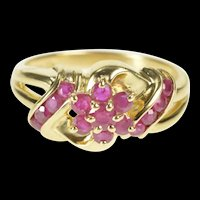 10K Floral Ruby Cluster Statement July Birthstone Ring Size 7 Yellow Gold [QRXP]