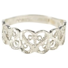 14K Retro Heart Filigree Pattern Graduated Band Ring Size 4.75 White Gold [QRQC]