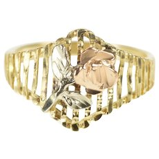10K Tri Tone Rose 3D Flower Chevron Statement Ring Size 8 Yellow Gold [QRQC]