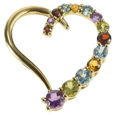 10K Rainbow Gemstone Inset Curvy Heart Pendant Yellow Gold [QRQC]