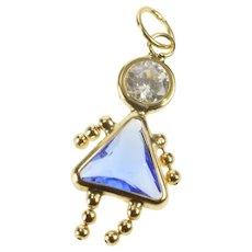 14K Syn. Sapphire September Birthstone Baby Charm/Pendant Yellow Gold [QRQC]
