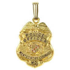 14K Montgomery County, MD Police Officer Badge Charm/Pendant Yellow Gold [QRXP]