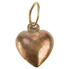 14K 3D Puffy Heart Love Symbol Charm/Pendant Yellow Gold [QRXP]