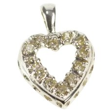 14K Diamond Inset Heart Classic Sweetheart Pendant Yellow Gold [QRQC]