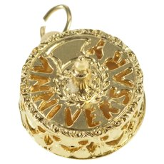 14K 3D Anniversary Wedding Cake Candle Charm/Pendant Yellow Gold [QRXP]