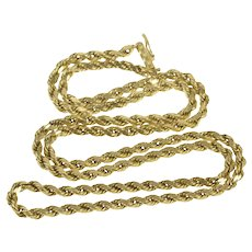 "14K 2.6mm Thick Rolling Rope Link Chain Necklace 20.5"" Yellow Gold [QRXP]"