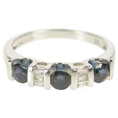 14K Sapphire Baguette Diamond Wedding Band Ring Size 7 White Gold [QRXP]