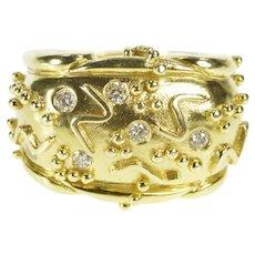 14K Aletto Bros. Geometric Diamond Statement Ring Size 6.5 Yellow Gold [CXXC]