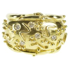 14K Aletto Bros. Geometric Diamond Statement Ring Size 6.5 Yellow Gold [QRQC]