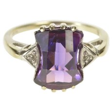 10K Faceted Amethyst Diamond Accent 1930's Ring Size 6 White Gold [QRQC]