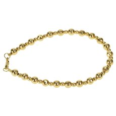 "14K Disco Ball Bead Link Simple Statement Bracelet 7.25"" Yellow Gold [QRXP]"