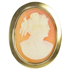 10K Oval Carved Shell Cameo Classic Statement Pin/Brooch Yellow Gold [CXXC]