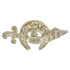 14K Diamond Inset Shriners Symbol Scimitar Lapel Pin/Brooch White Gold [QRXW]