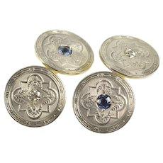 14K Art Deco Embossed Sapphire Diamond Ornate Cuff Links Yellow Gold [QRQC]