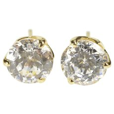 14K Round Brilliant CZ Solitaire Petal Prong Stud Earrings Yellow Gold [QRXP]