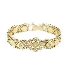 "14K 1940's Diamond Ornate Scroll Link Bracelet 7"" Yellow Gold [QRQC]"