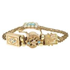 "10K Ornate Victorian Turquoise & Opal Slide Charm Bracelet 6.5"" Yellow Gold [QRQC]"