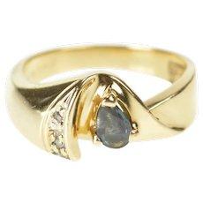 10K Pear Sapphire Diamond Curved Twist Statement Ring Size 4 Yellow Gold [QRXW]