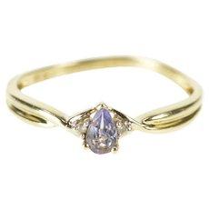 10K Pear Tanzanite Diamond Accent Twist Ring Size 7 Yellow Gold [QRXW]