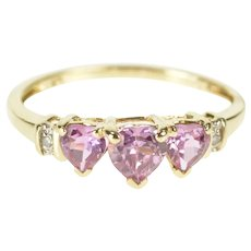 10K Pink Topaz Three Stone Heart Diamond Accent Ring Size 7 Yellow Gold [QRXW]