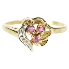 10K Ruby Diamond Wavy Floral Cluster Heart Ring Size 6.25 Yellow Gold [CXXC]