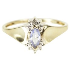 10K Marquise Synthetic Tanzanite Diamond Ring Size 7 Yellow Gold [QRXW]