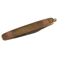 14K AVS Monogram Ornate Pocket Utility Knife Pendant Rose Gold [QRXW]