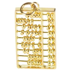 14K 3D Articulated Abacus Ancient Calculator Charm/Pendant Yellow Gold [QRXW]