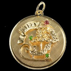 14K Merry Xmas Christmas Tree Sleigh 1960's Charm/Pendant Yellow Gold [QRXW]