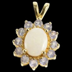 14K Tanzanite Halo Syn. Opal Classic Statement Pendant Yellow Gold [QRXW]