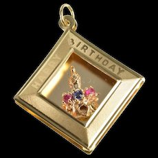 14K Retro Happy Birthday Shadow Box Crown Charm/Pendant Yellow Gold [QRXW]