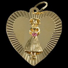 14K 1960's Sweetheart Bouquet Heart Romantic Charm/Pendant Yellow Gold [QRXW]