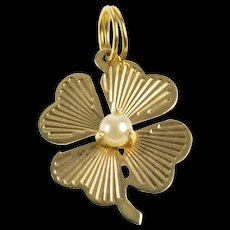14K Pear Retro Burst Shamrock Clover Good Luck Charm/Pendant Yellow Gold [QRXW]
