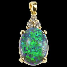 14K Oval Sim. Black Opal CZ Cluster Statement Pendant Yellow Gold [QRXW]
