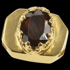 14K Oval Garnet Ornate Bezel Slide Bracelet Charm/Pendant Yellow Gold [QRXW]