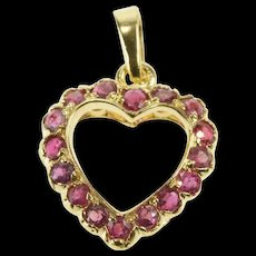 14K Ruby Inset Scalloped Retro Heart Pendant Yellow Gold [QRXW]
