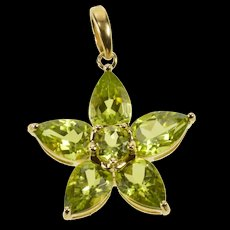 10K Ornate Syn. Peridot Flower Cluster Statement Pendant Yellow Gold [QRXW]