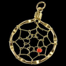 Base Metal Ornate Dream Catcher Spider Web Red Bead Charm/Pendant  [QRXW]