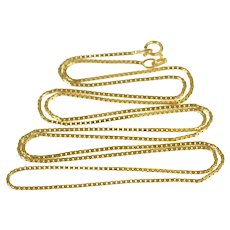 "14K 1.0mm Square Box Link Simple Chain Necklace 24.75"" Yellow Gold [CXXC]"
