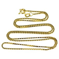 "14K 1.0mm Square Chain Classic Box Link Necklace 18"" Yellow Gold [CXXC]"
